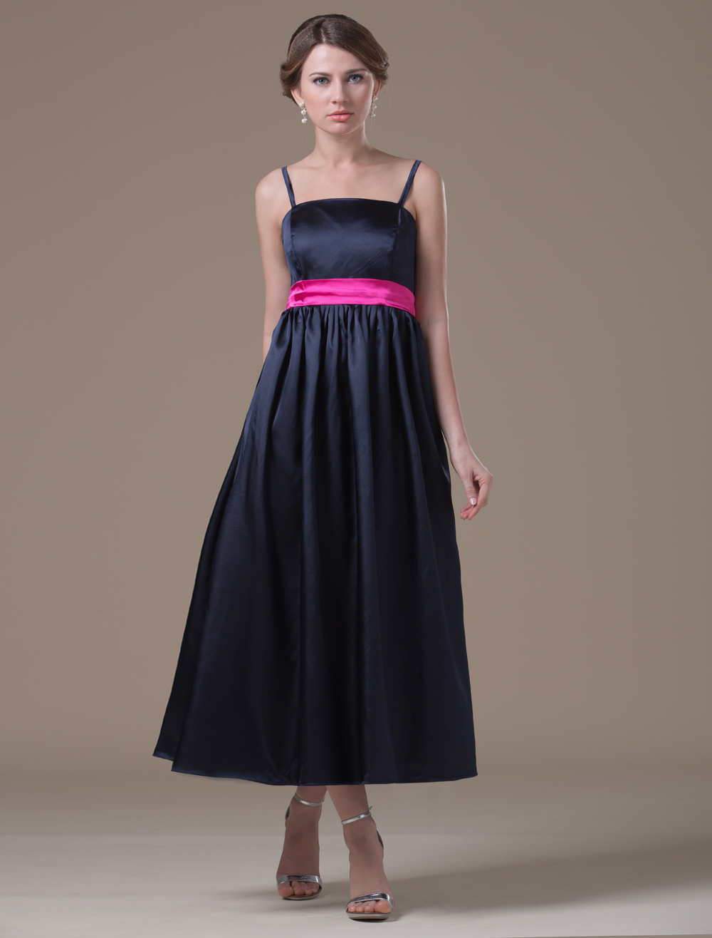 Buy A-line Black Elastic Woven Satin Maternity Bridesmaid Dress with Spaghetti Straps Empire Waist for $102.59 in Milanoo store