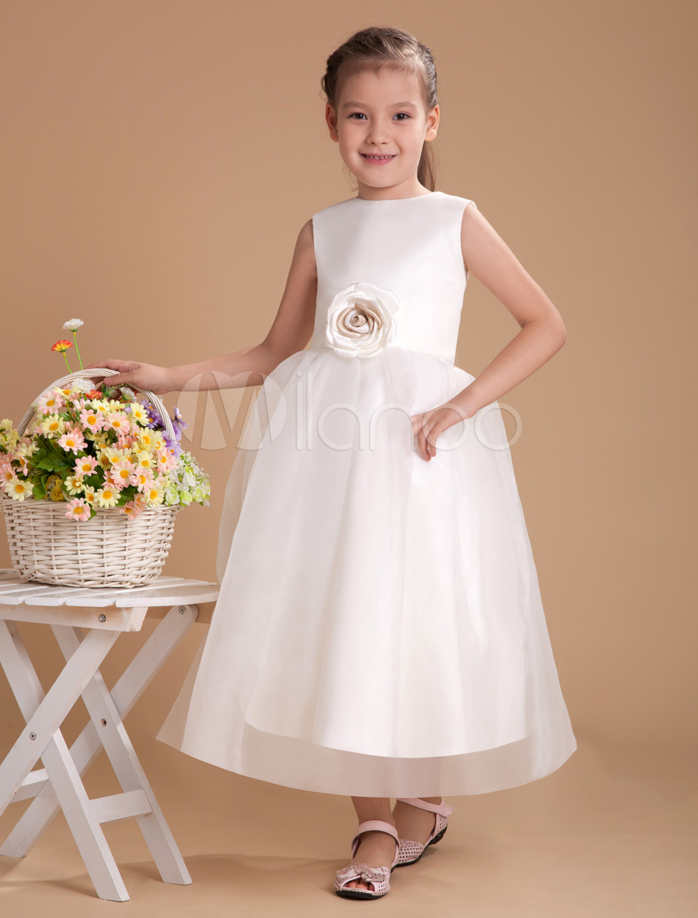 Buy Classical Ivory Satin Flower Girl Dress for $62.99 in Milanoo store