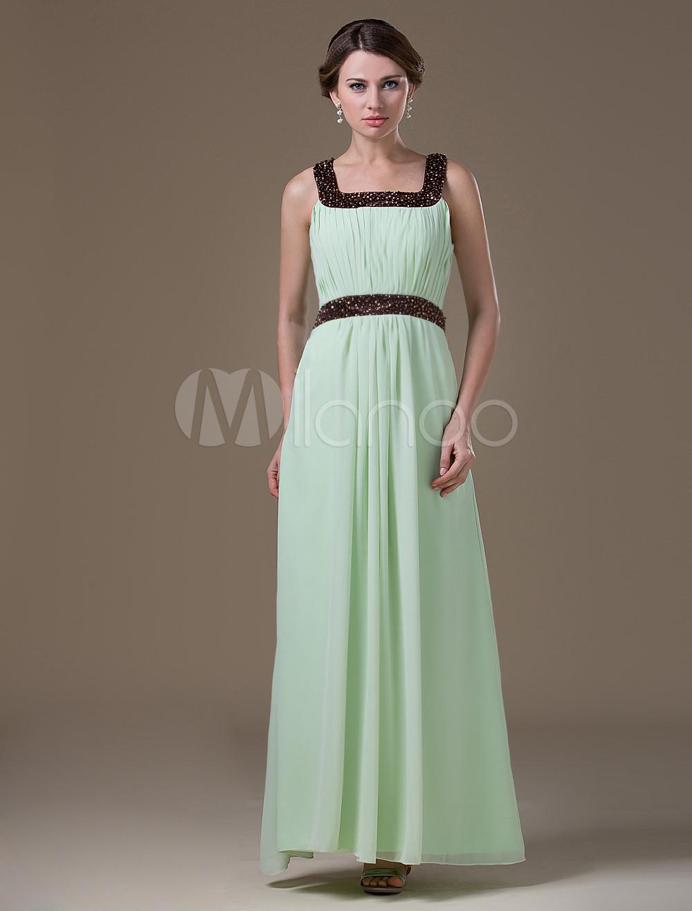 0b1b58f37 Vestidos de damas para embarazadas de gasa de color verde con escote  cuadrado sin mangas de línea A hasta el suelo - Milanoo.com