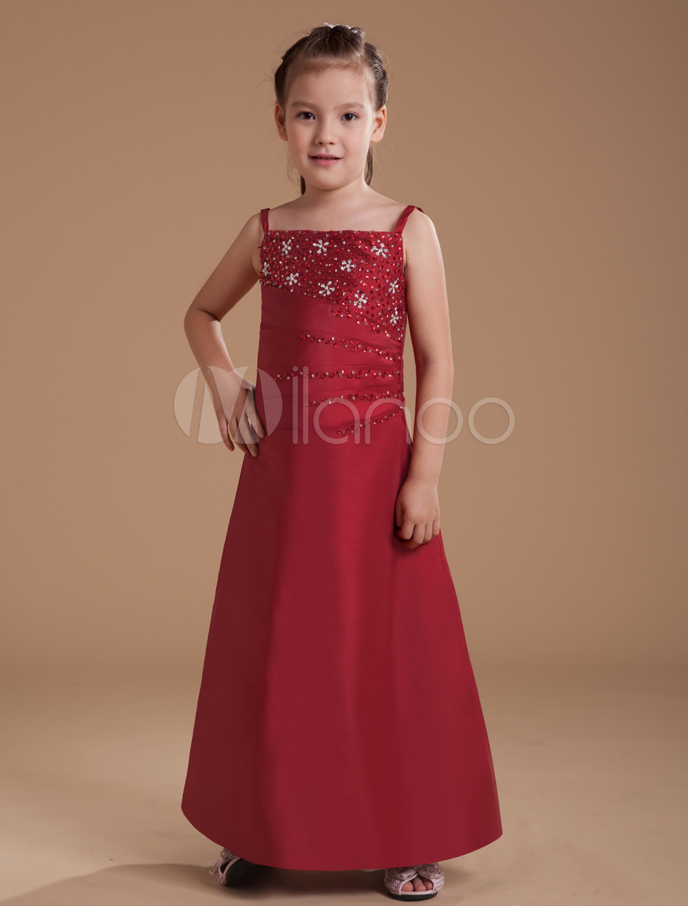 A line burgundy taffeta junior bridesmaid dress with spaghetti 32off ombrellifo Choice Image