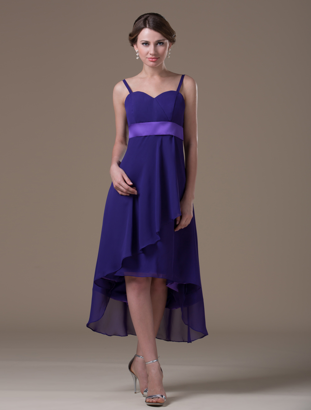 Buy Grape Elastic Woven Satin Tea Length Maternity Bridesmaid Dress for $119.99 in Milanoo store