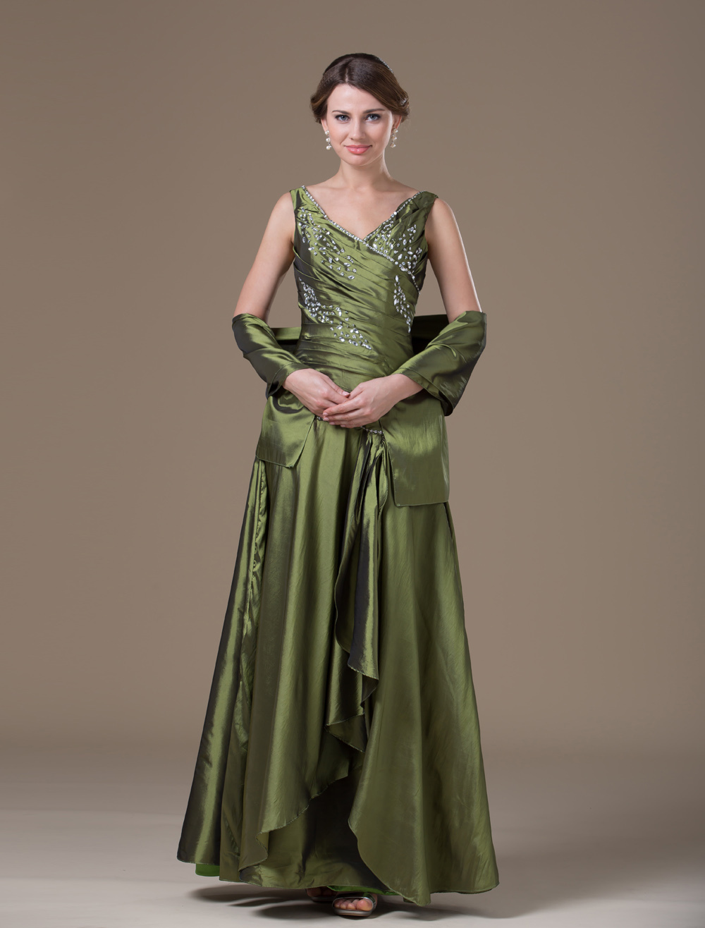 85395716fa Mother Of Bride Dress Green Wrap V Neck Floor Length Taffeta Wedding Guest  Dresses - Milanoo.com