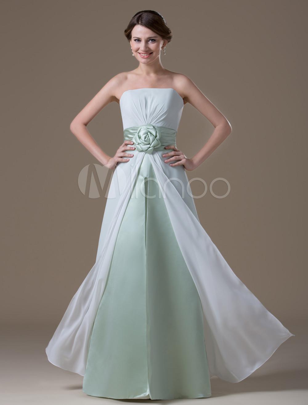 1e1316bf3c4 Pretty White Chiffon Strapless Floor Length Maternity Bridesmaid ...