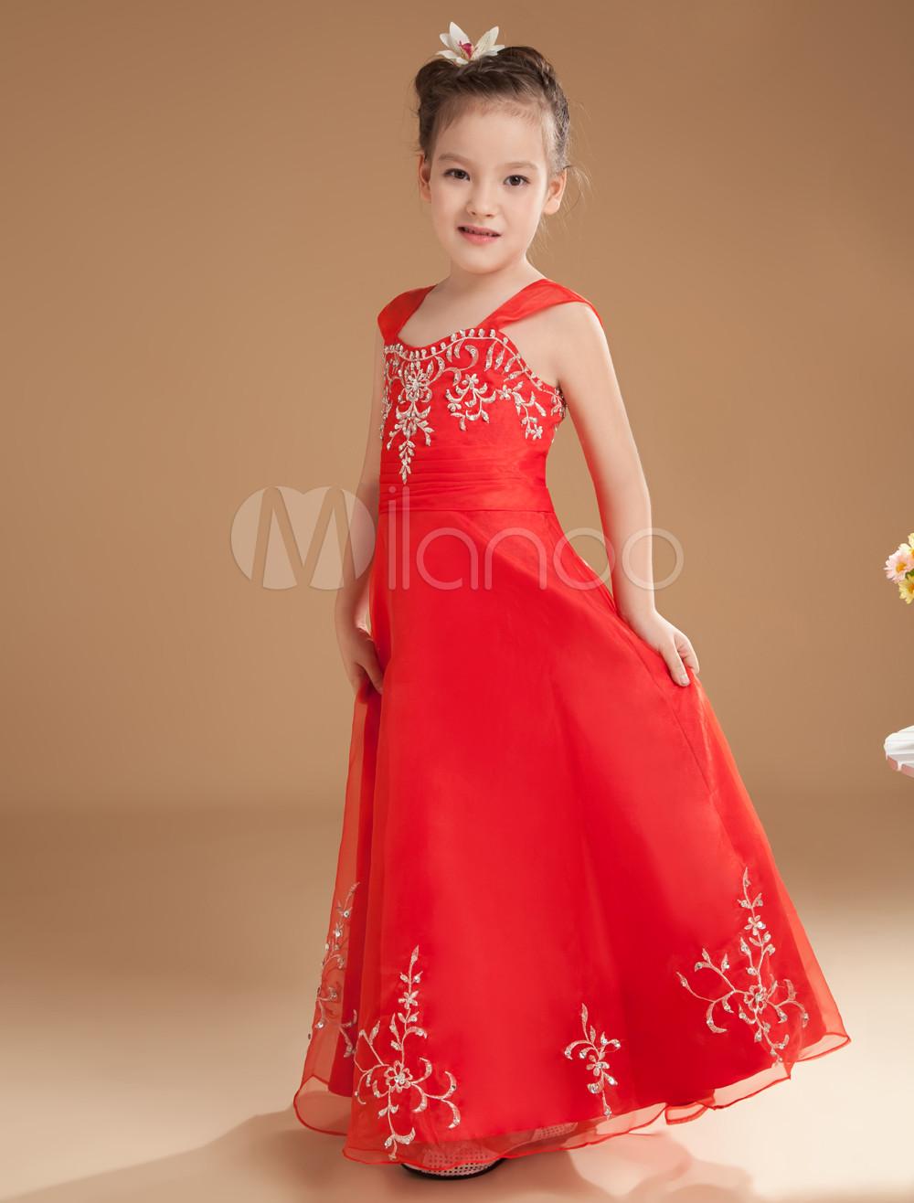 Romantic Red Satin Off-the -shoulder Floor Length Little Girls Dress