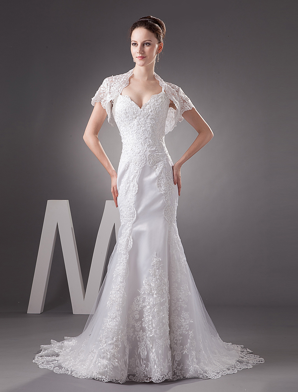 White Wedding Dresses Lace Mermaid Sweetheart Straps Train Bridal Gowns With Jacket