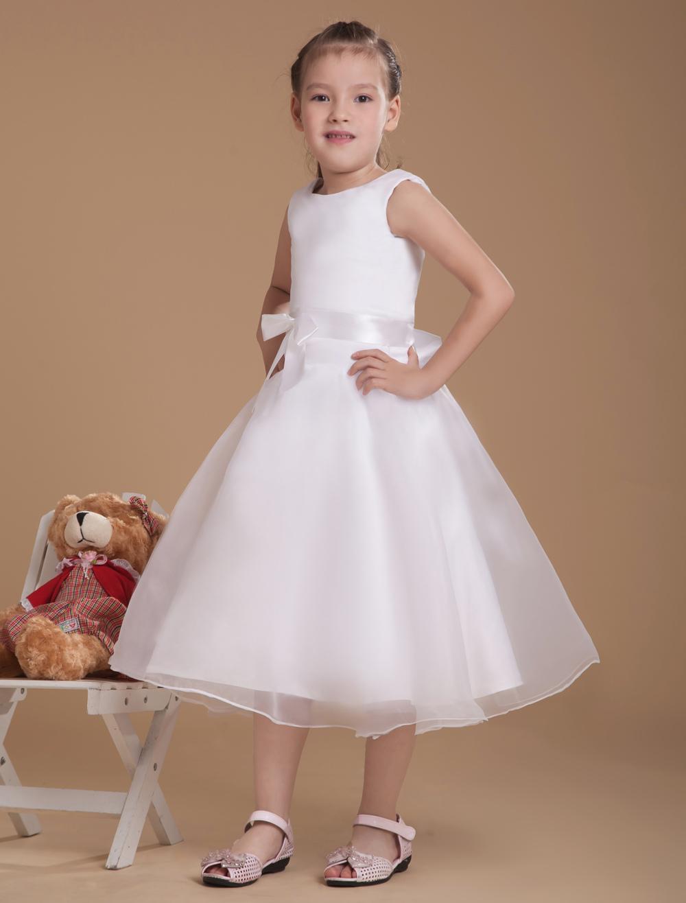 Buy Romantic White Satin Flower Girl Dress for $66.49 in Milanoo store