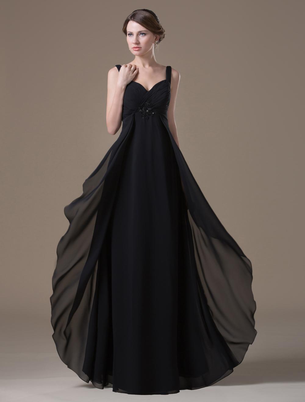 Sexy Black Spandex Chiffon A-line Maternity Bridesmaid Dress