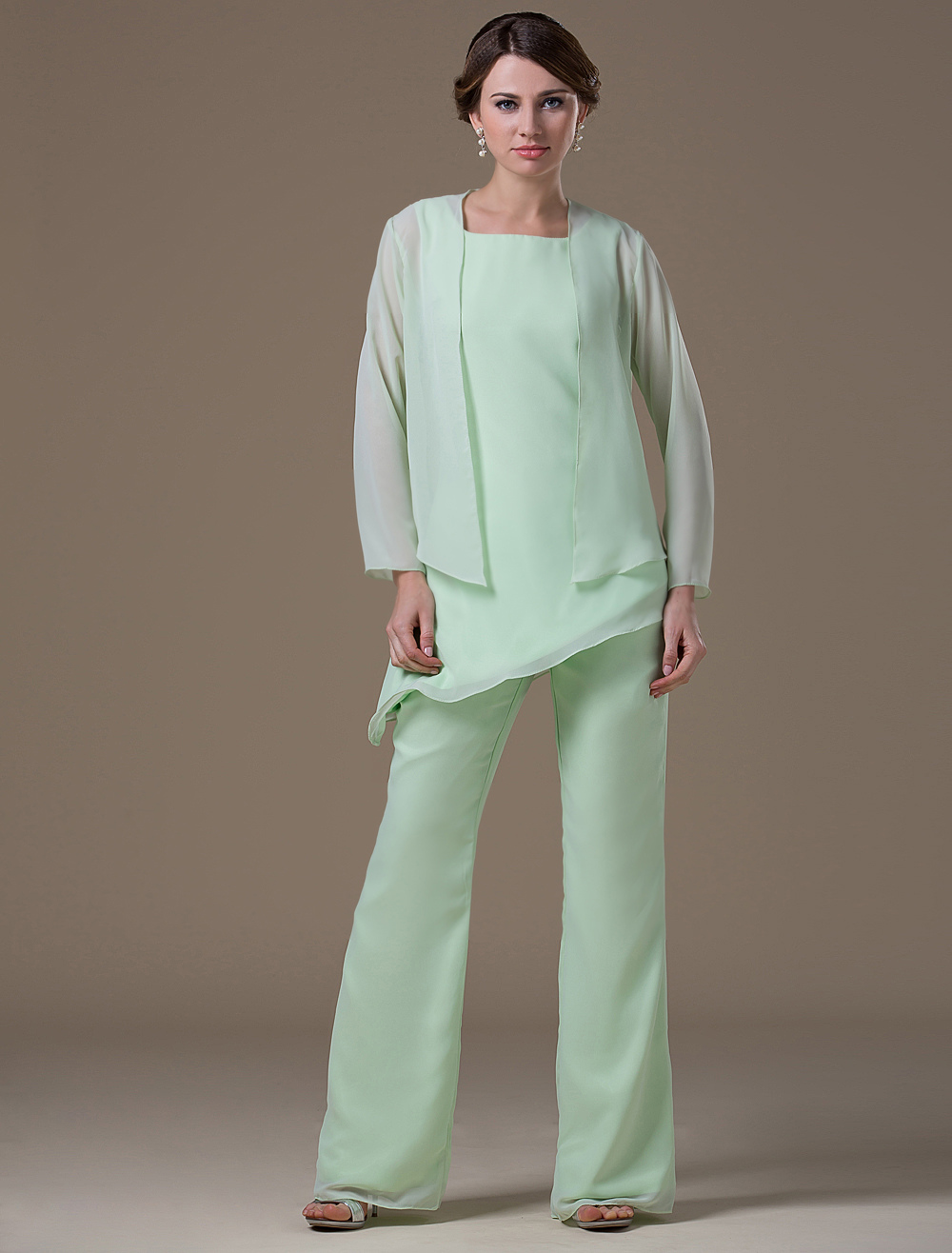 Mint Green Mother Of The Bride Suit Asymmetrical Chiffon