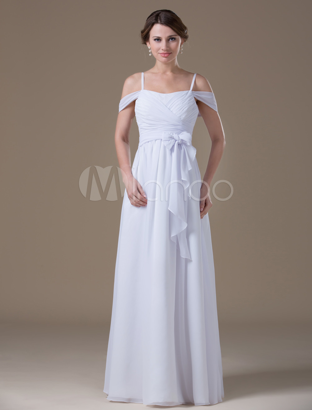 White causal off the shoulder satin chiffon maternity wedding chiffon maternity wedding dress no8 12 ombrellifo Image collections