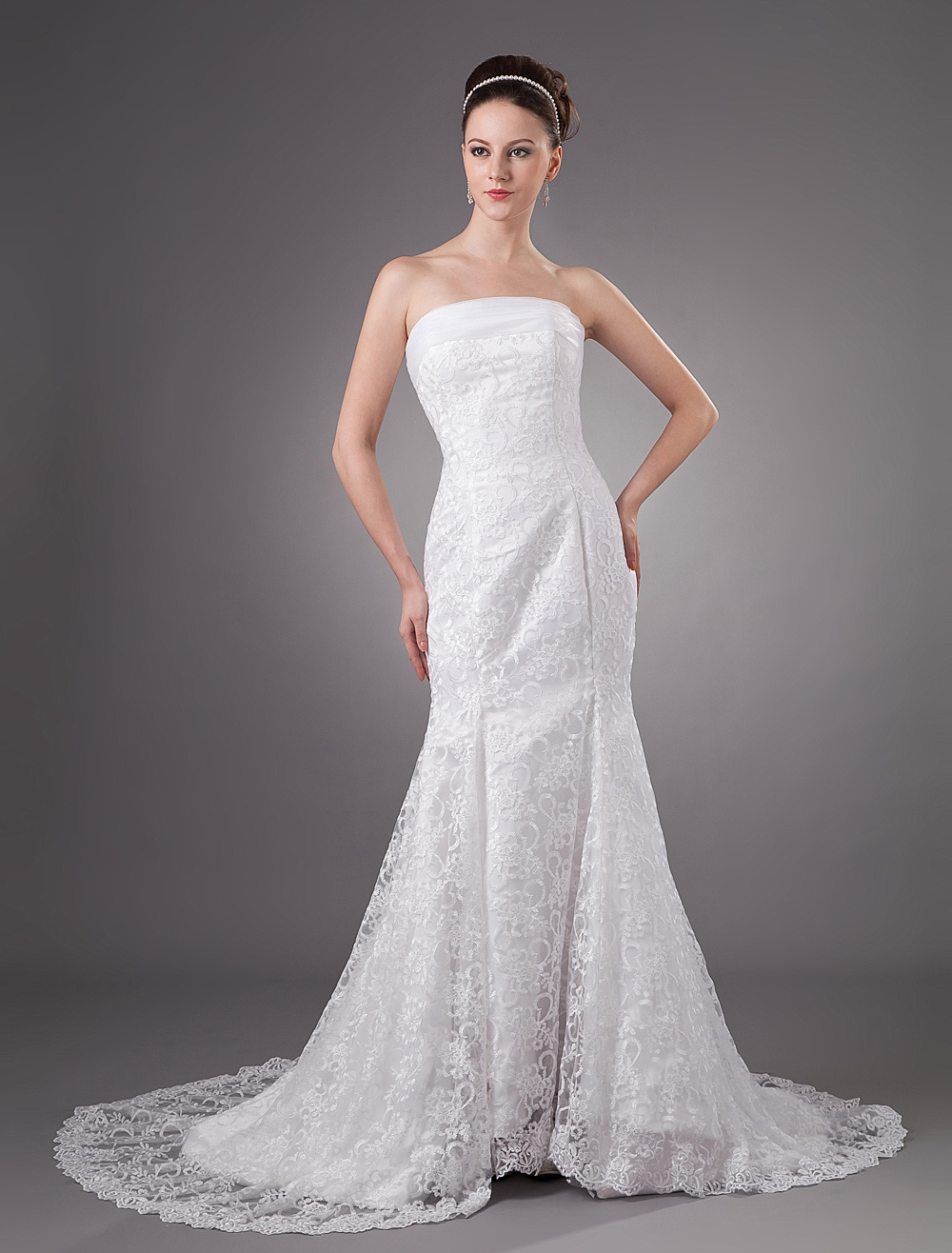 Buy White Lace Beautiful Strapless Mermaid Trumpet Wedding Dress for $249.99 in Milanoo store