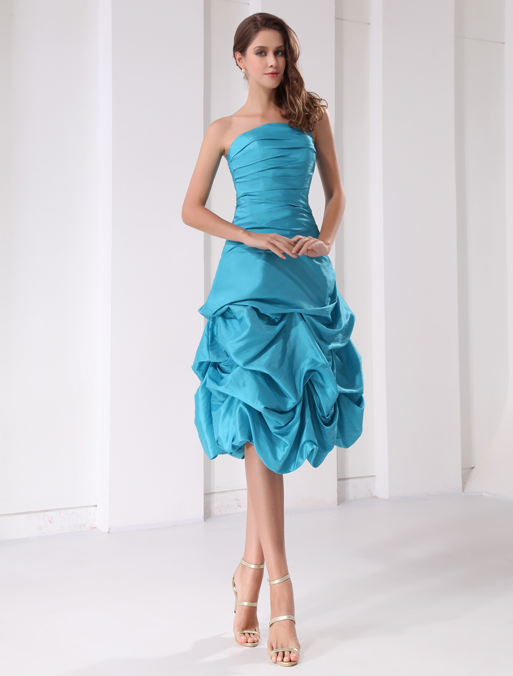 Short Prom Dress Aqua Strapless Ruched Ball Gown Knee Length Taffeta ...