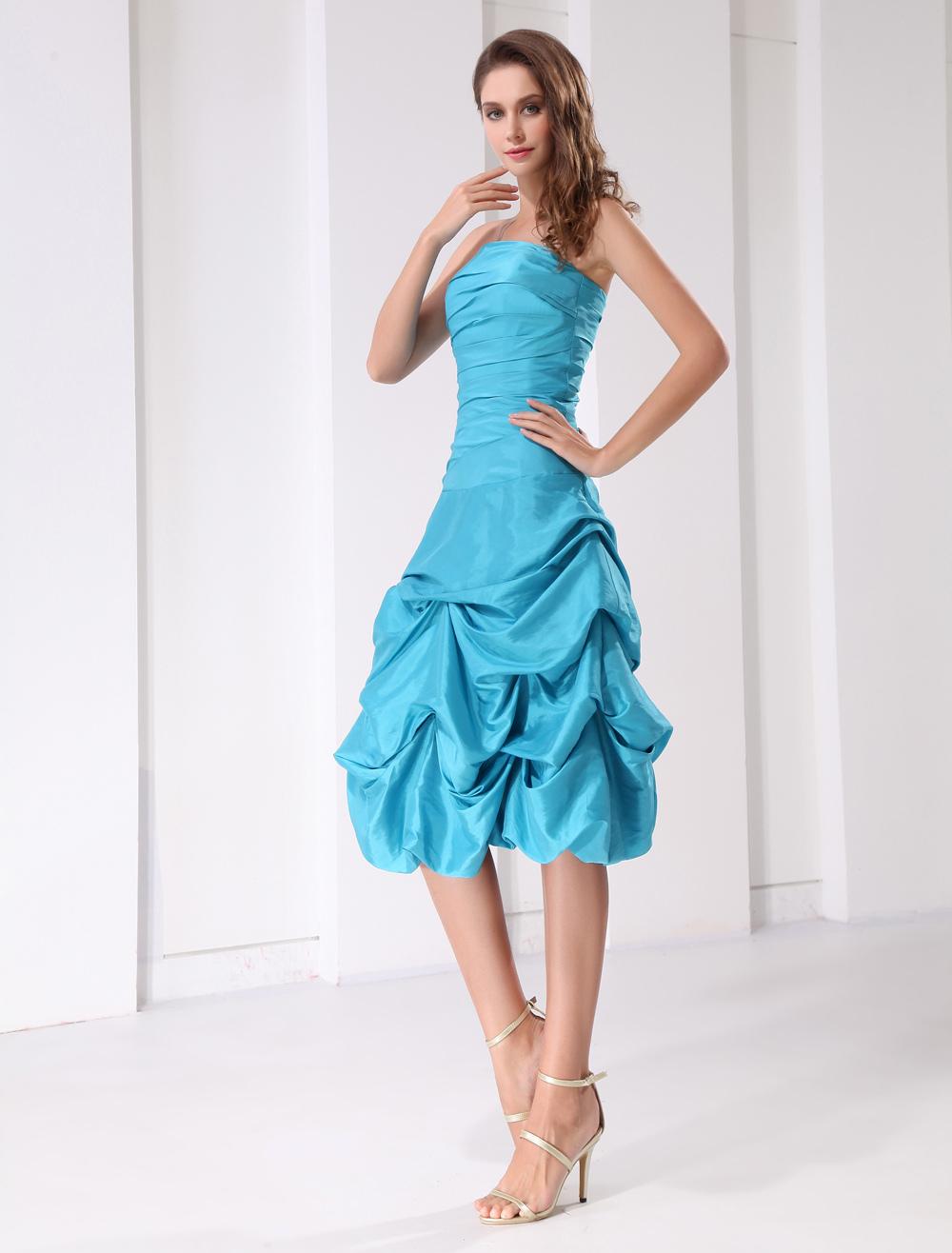 Short Prom Dress Aqua Strapless Ruched Ball Gown Knee Length Taffeta ...