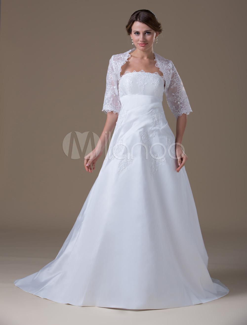 White wedding dresses taffeta strapless bridal gown lace for Strapless taffeta wedding dress