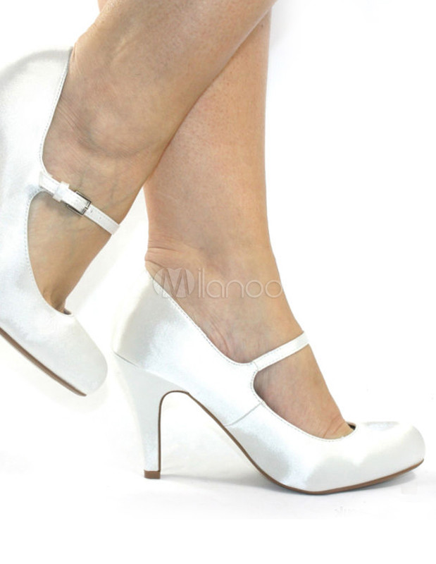 Clic Round Toe Satin Bridal Shoes No 3