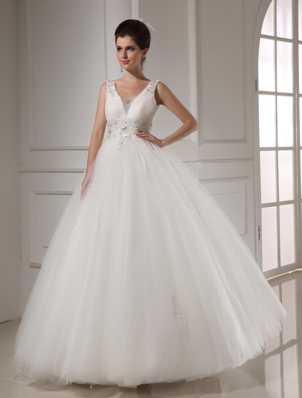 White Ball Gown Beading Tulle Bridal Wedding Dress