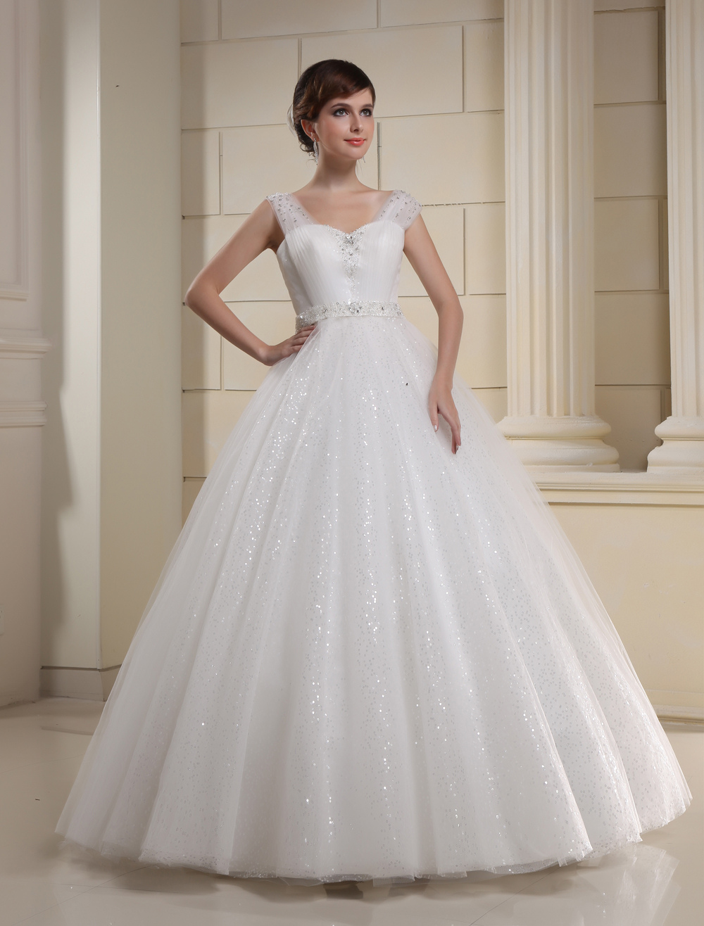 White Sweetheart Sequin Beading Tulle Bridal Wedding Gown