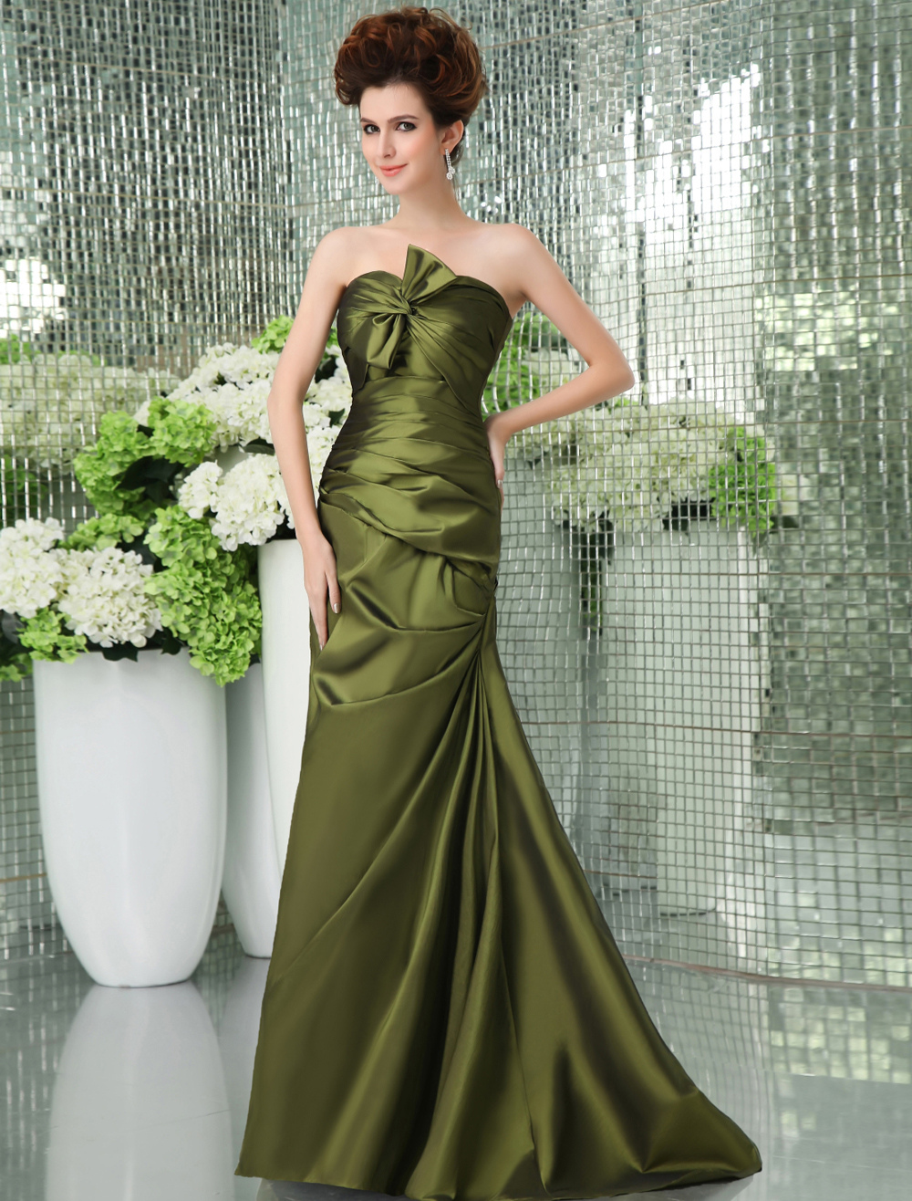 Green Strapless Sweep Taffeta Prom Dress