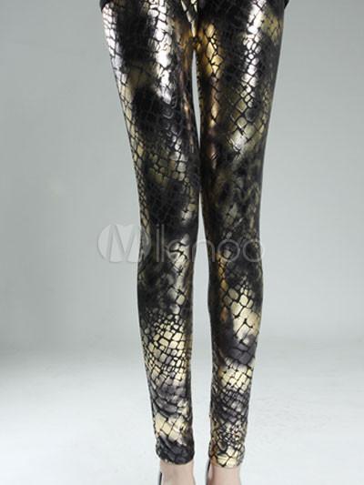 Snake Print Gold Metallic Leggings Cheap clothes, free shipping worldwide