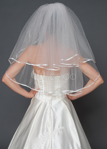 Grace White Tulle Two-Layer Wedding Veil