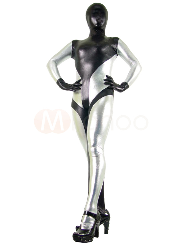 Black & Silver Shiny Metallic Unisex Zentai Suit for Halloween Halloween
