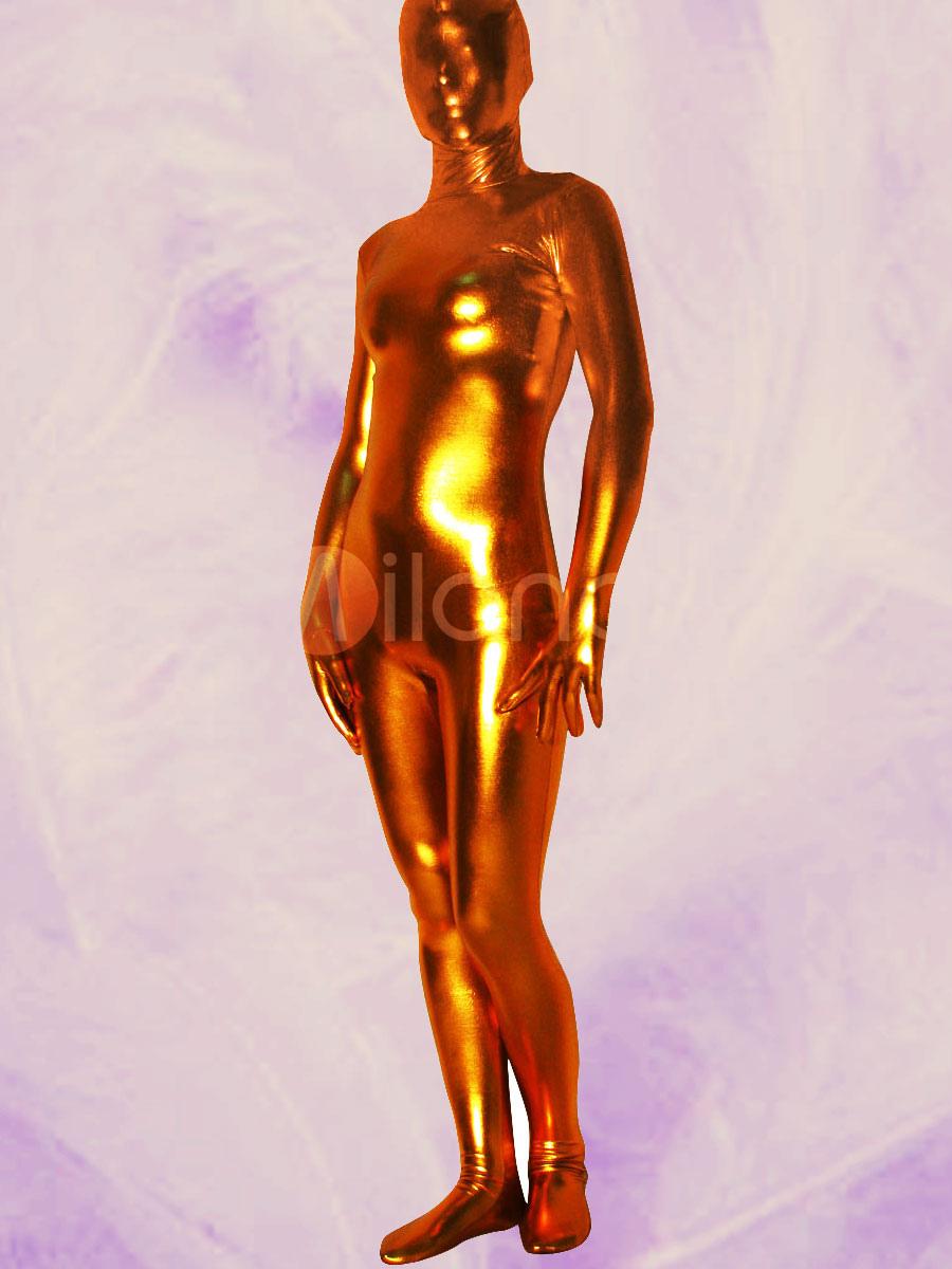 Golden Shiny Metallic Unisex Zentai Suit for Halloween  Halloween