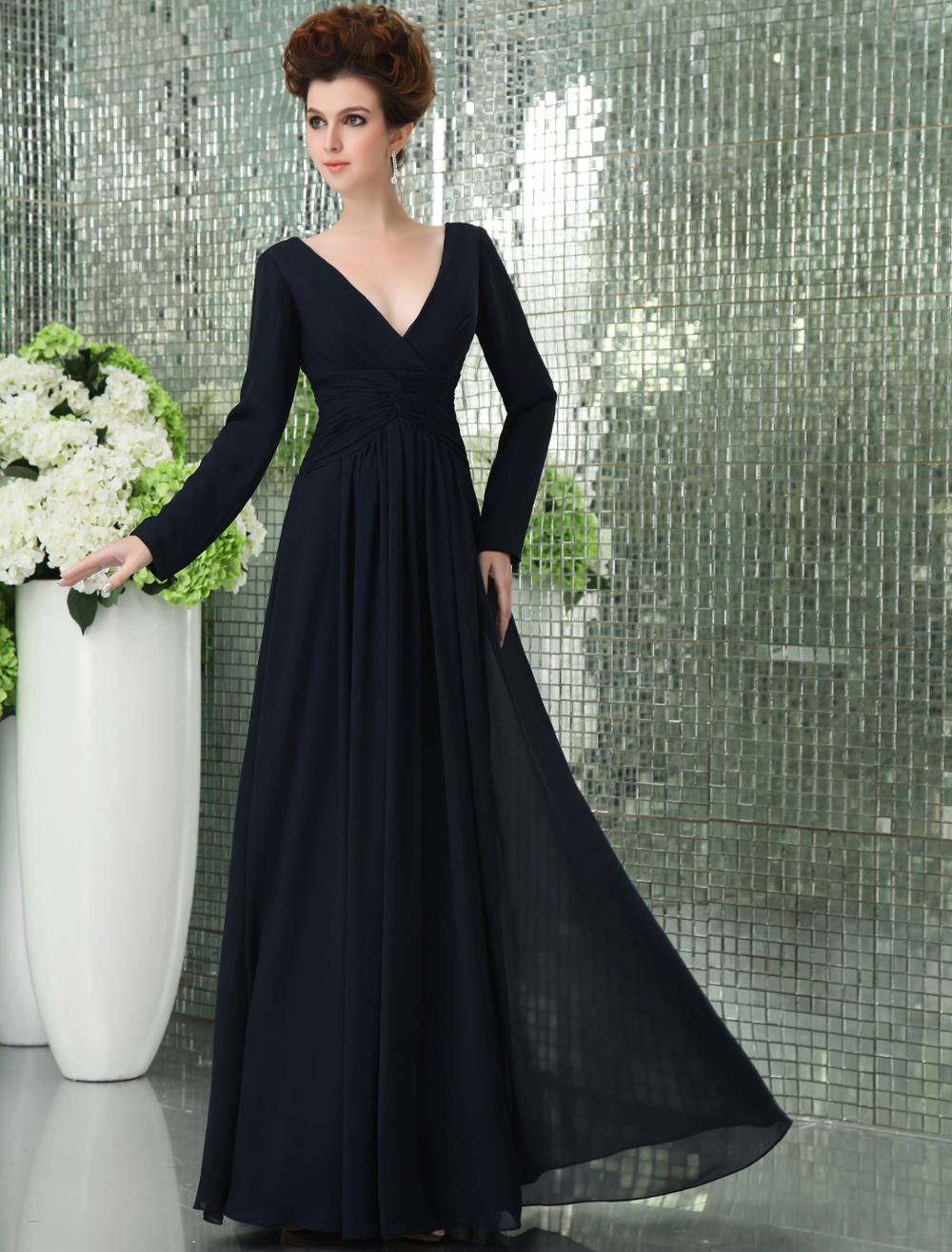 Dark Navy Bridesmaid Dress Deep-V Twisted Pleated Chiffon Dress
