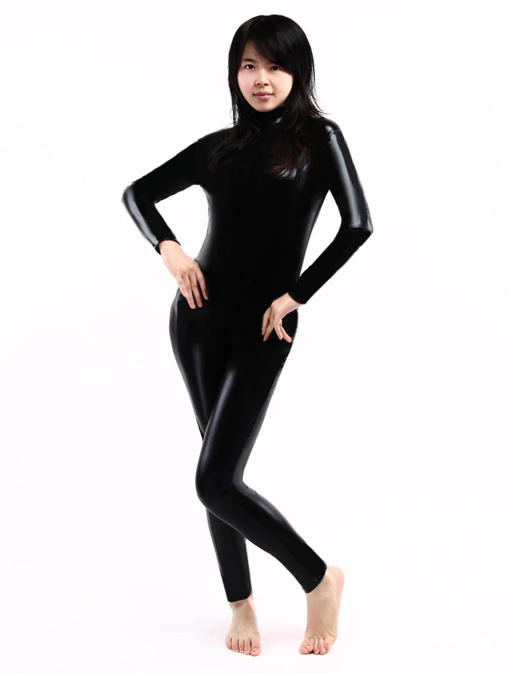 Halloween Black Shiny Metallic Unisex Catsuit Halloween