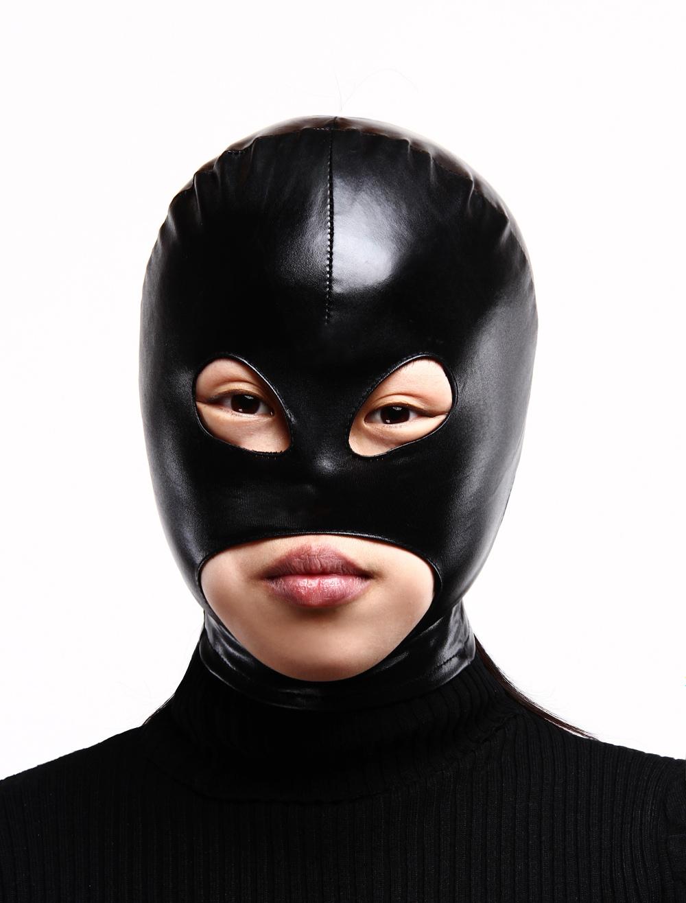 Halloween Black Shiny Metallic Hood with Eyes and Mouth Opened Halloween