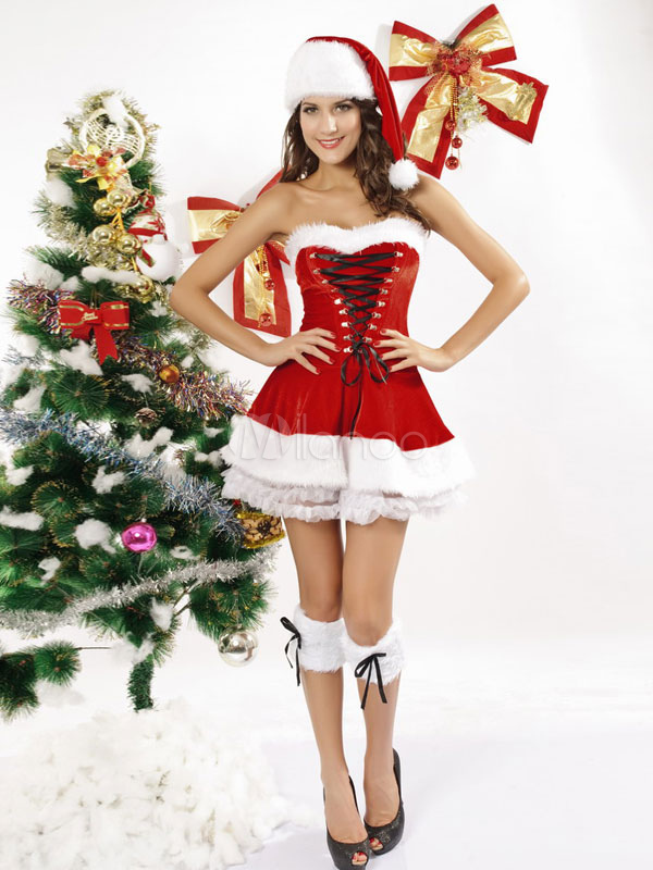 Sexy Christmas Costume Red Velour Strapless Sleeveless Slim Fit Dress With Boot Covers And Hat Halloween