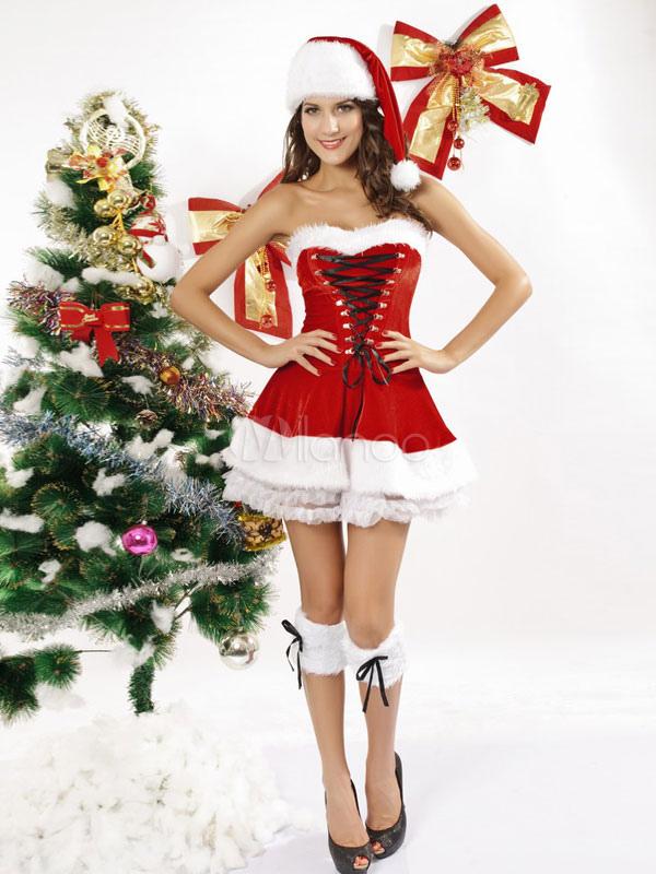 4f36a2b1c40884 Festliches Nikolaus Kostüm Damen sexy Rot Weihnachtsfrau Kleid Karneval-No.  ...