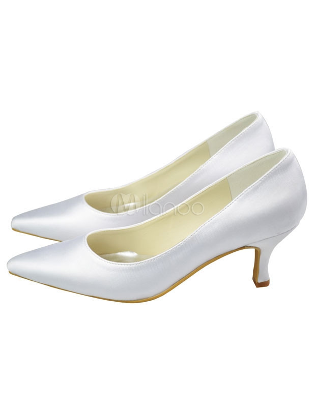white satin 3 1 5 quot high heel womens wedding shoes