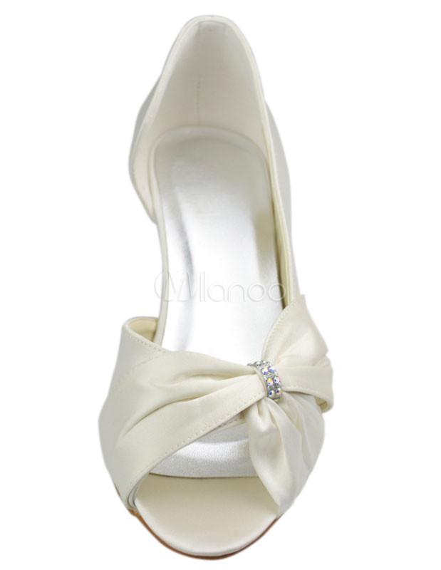 ... Ivory Peep Toe Rhinestone Satin Bridal Shoes No.2 ...