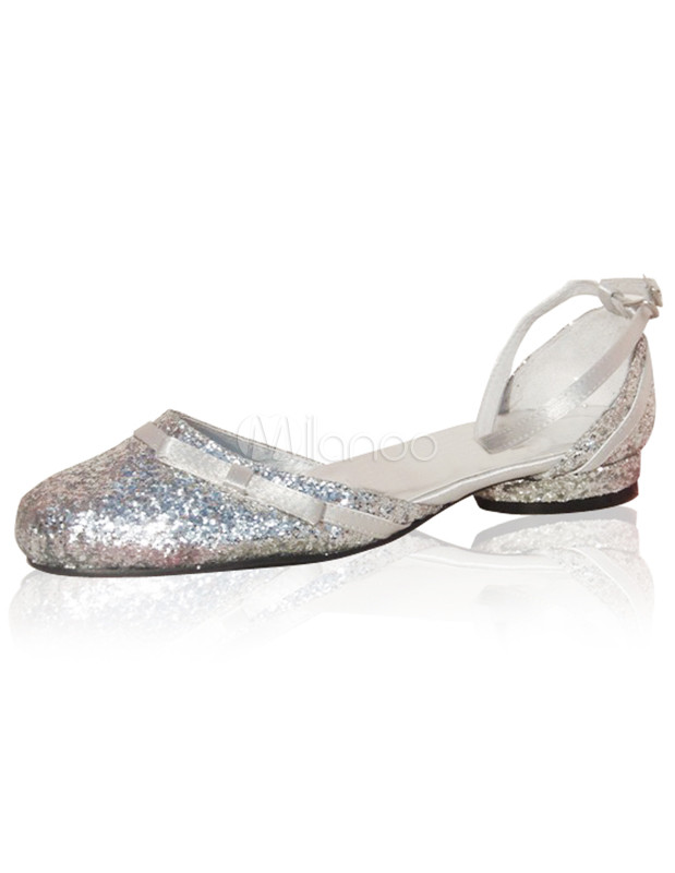 Silver Bow Chunky Heel Synthetic Bridal Shoes No 1