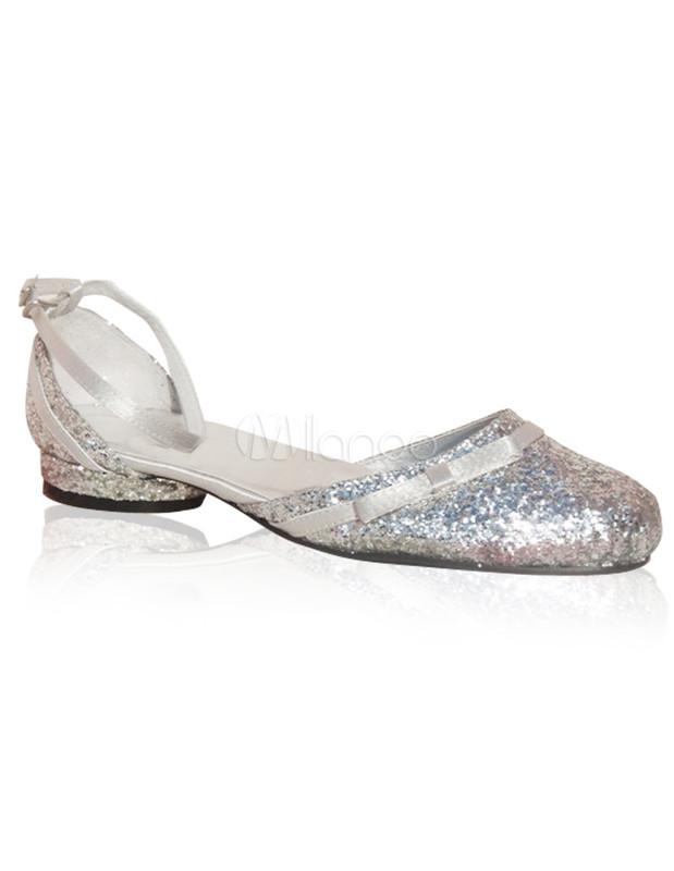 Silver Bow Chunky Heel Synthetic Bridal Shoes - Milanoo.com