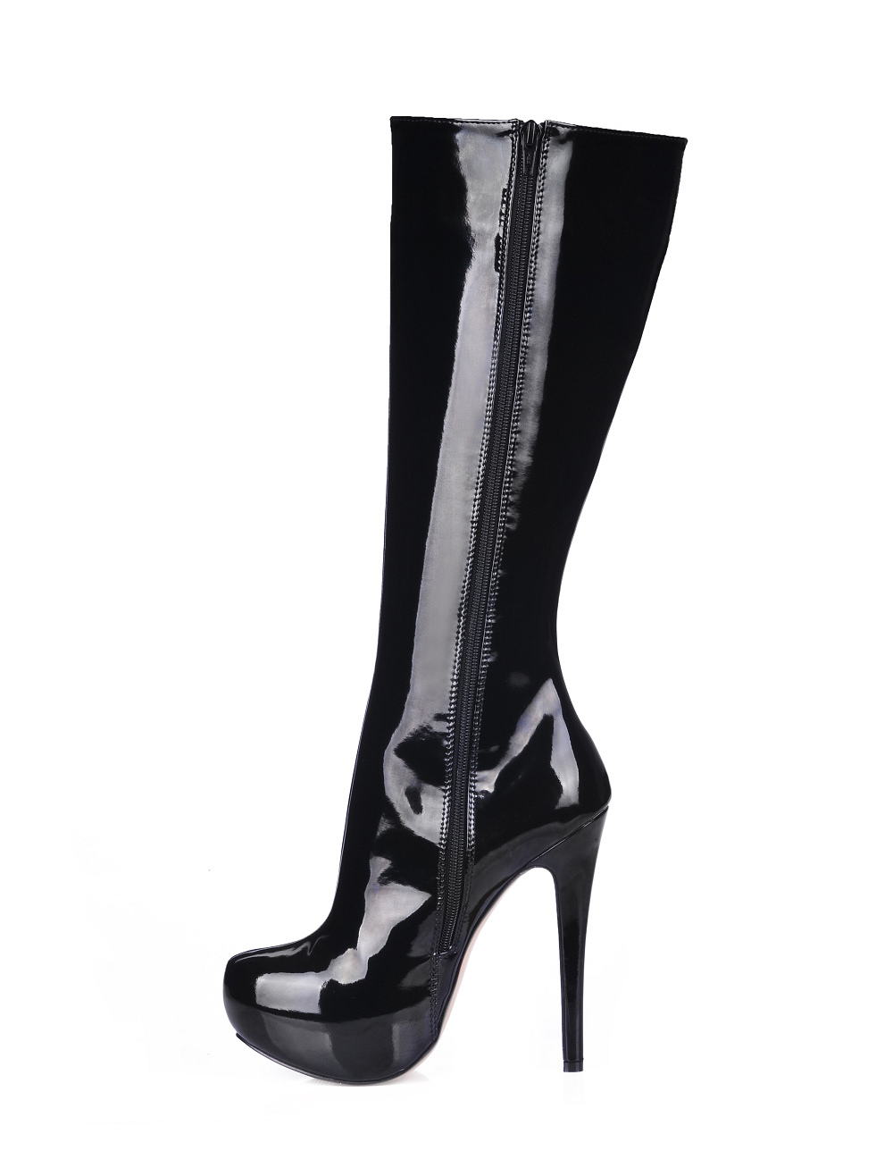 Black High Heel Patent Leather Knee High Boots