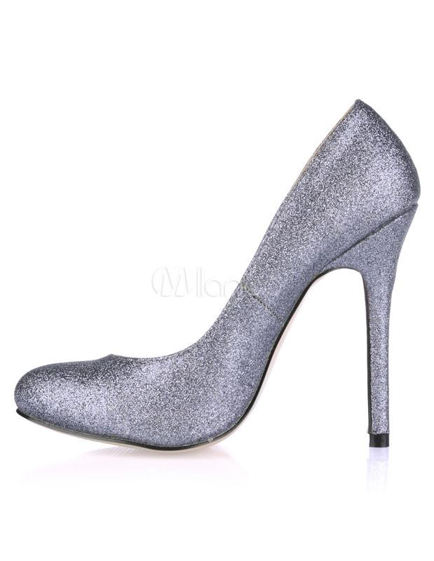 Zapatos de tacón de tela con lentejuelas brillantes de gris oscuro 1WAVj2