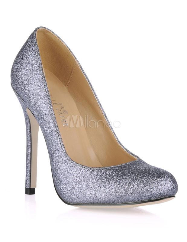 Zapatos de tacón de tela con lentejuelas brillantes de gris oscuro BNDIZX88