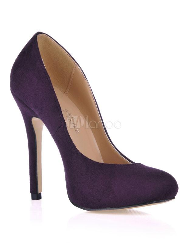 ... Escarpins à talons aigus violets foncés en nubuck-No.3 ...