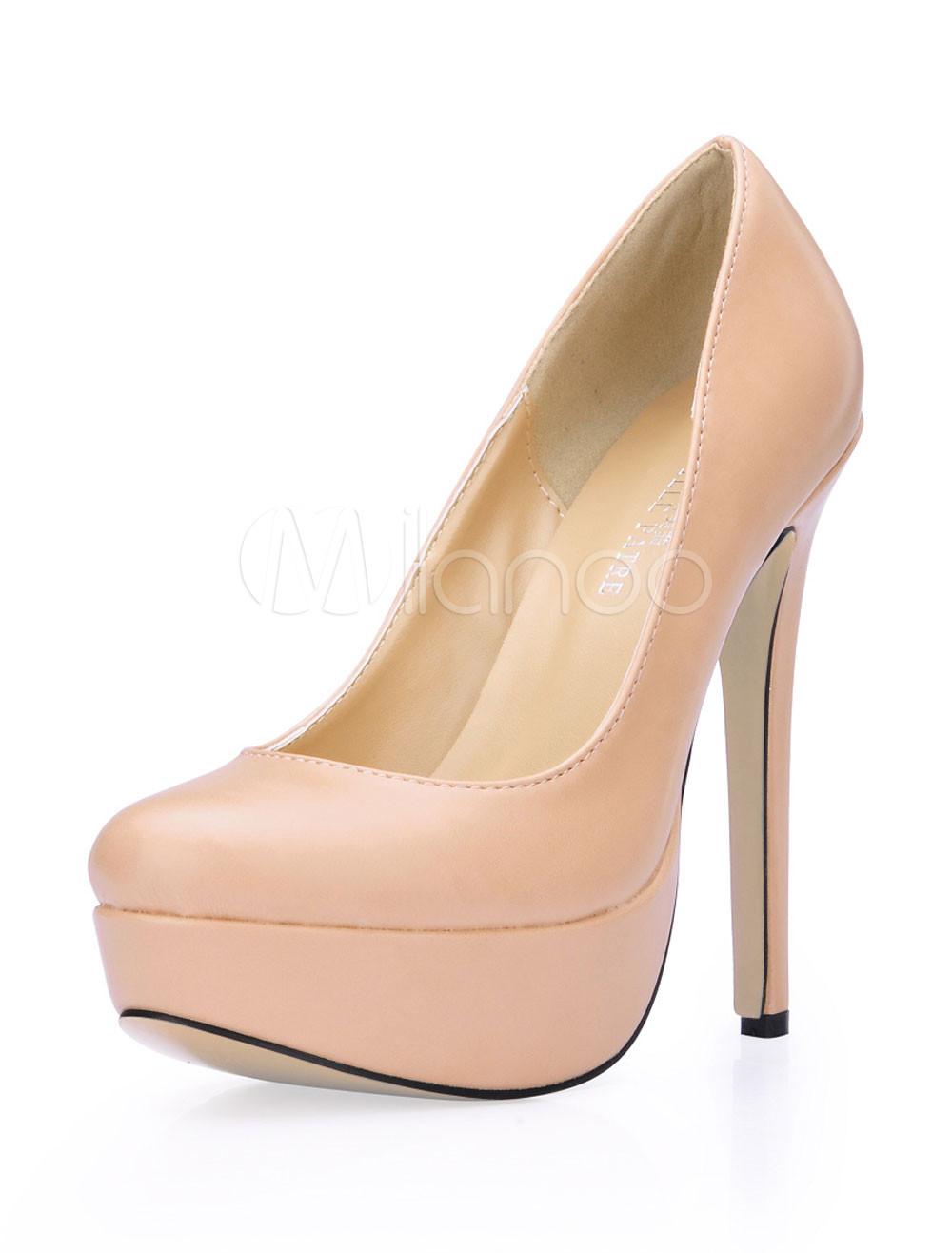 Zapatos de tacón de PU de color desnudo nrW3bap