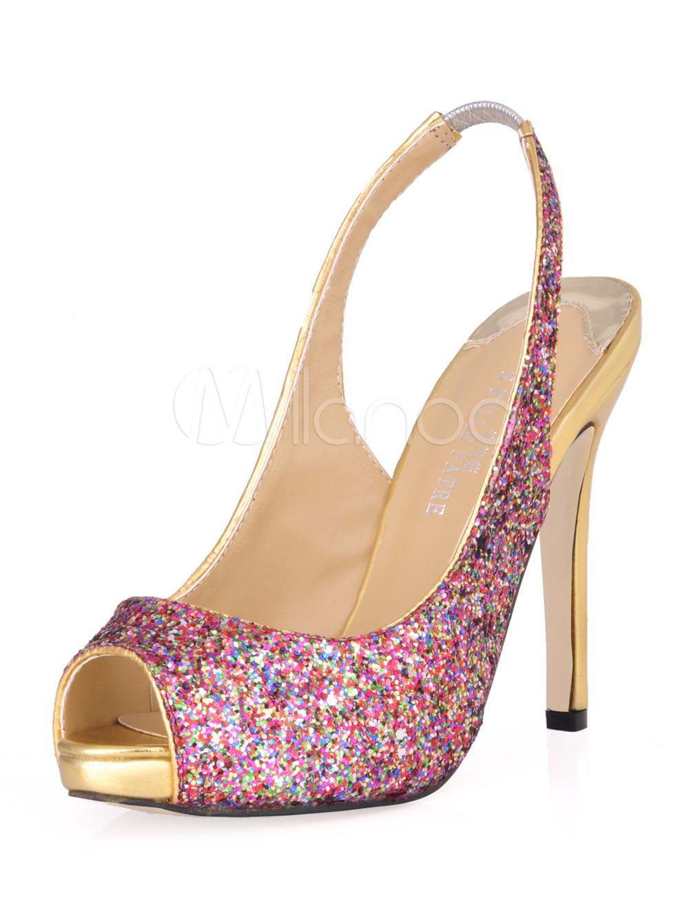 Women Dress Shoes Glitter High Heel Sandals Peep Toe Slingbacks Sandal Shoes