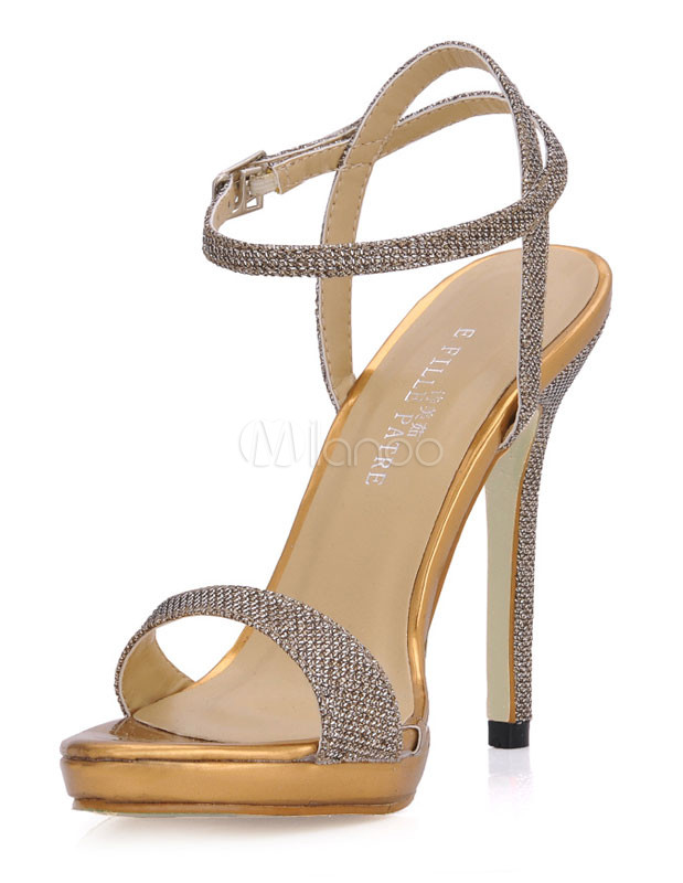 Gold Sequined Cloth Dress Sandals