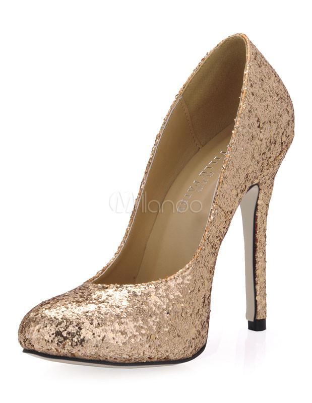 Zapatos de tacón alto de tela con lentejuelas doradas A7Fbf1mj4p
