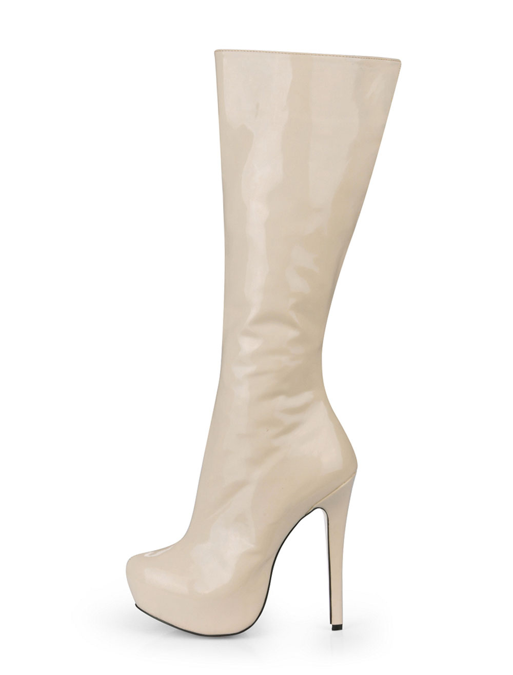 Ivory Almond Toe Patent Woman's Knee Length Boots