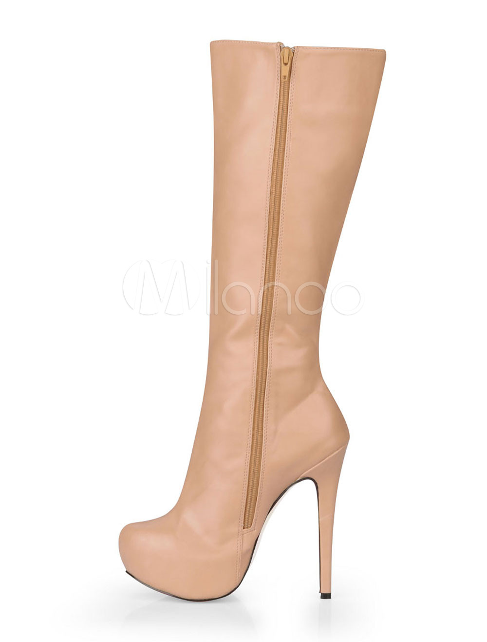 Nude Color Almond Toe PU Knee Length Boots