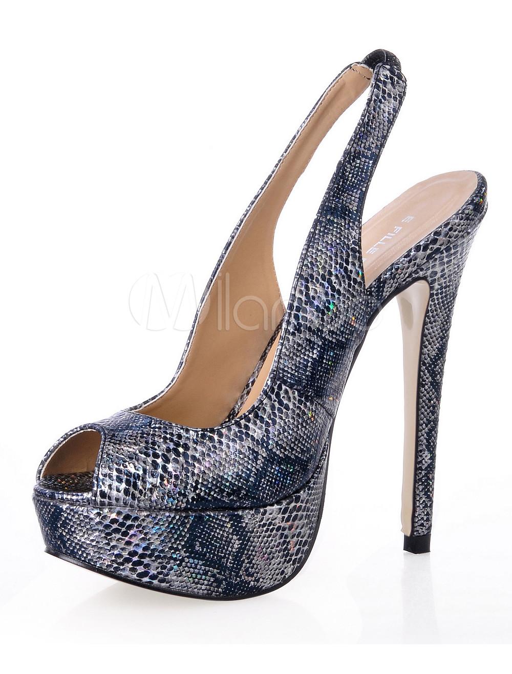 Peep Toe Sling Back Platform Snake Skin PU Womens Shoes