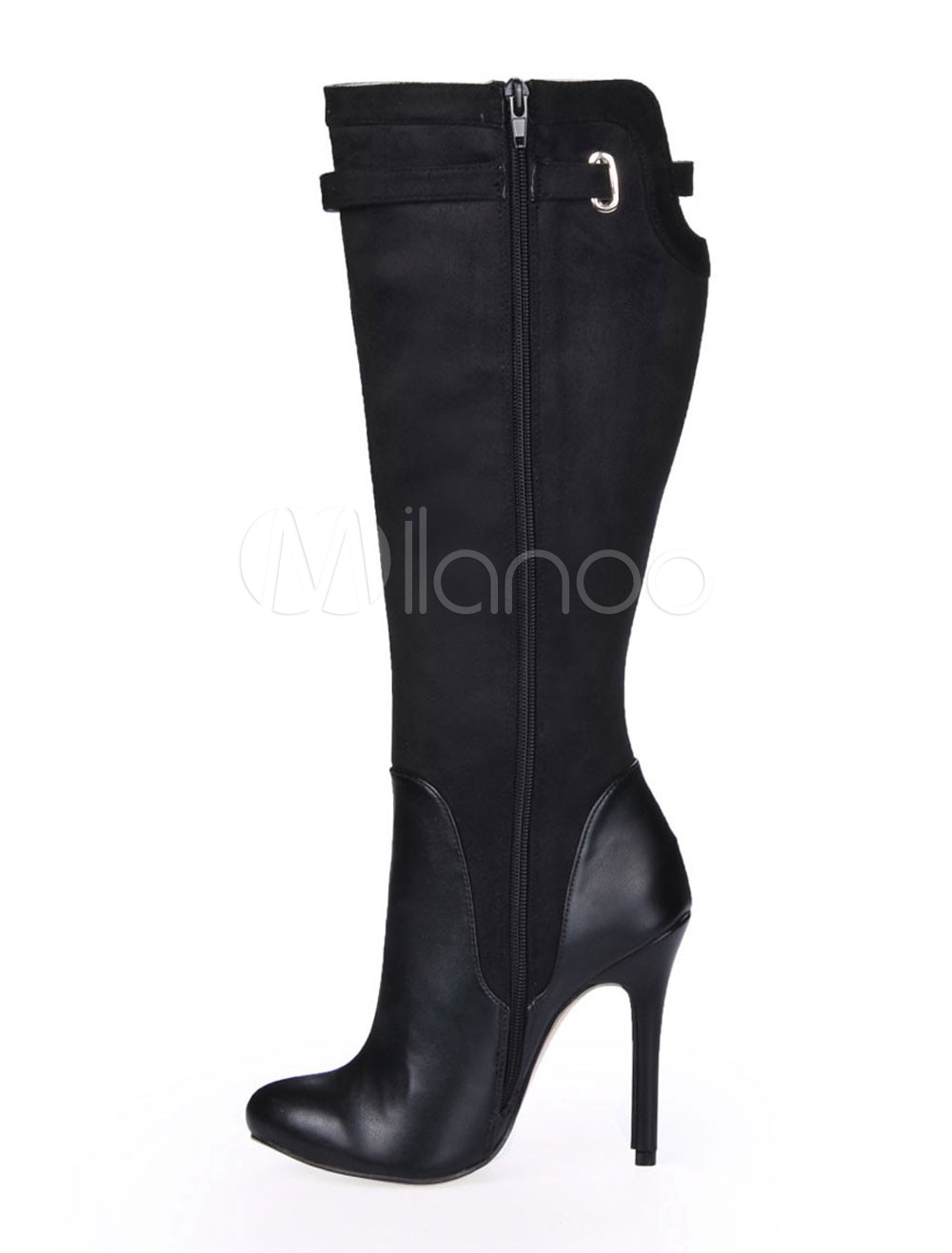 Vintage Black Spike Heel Buckle Stretch Satin Sanding Knee Length Boots for Women