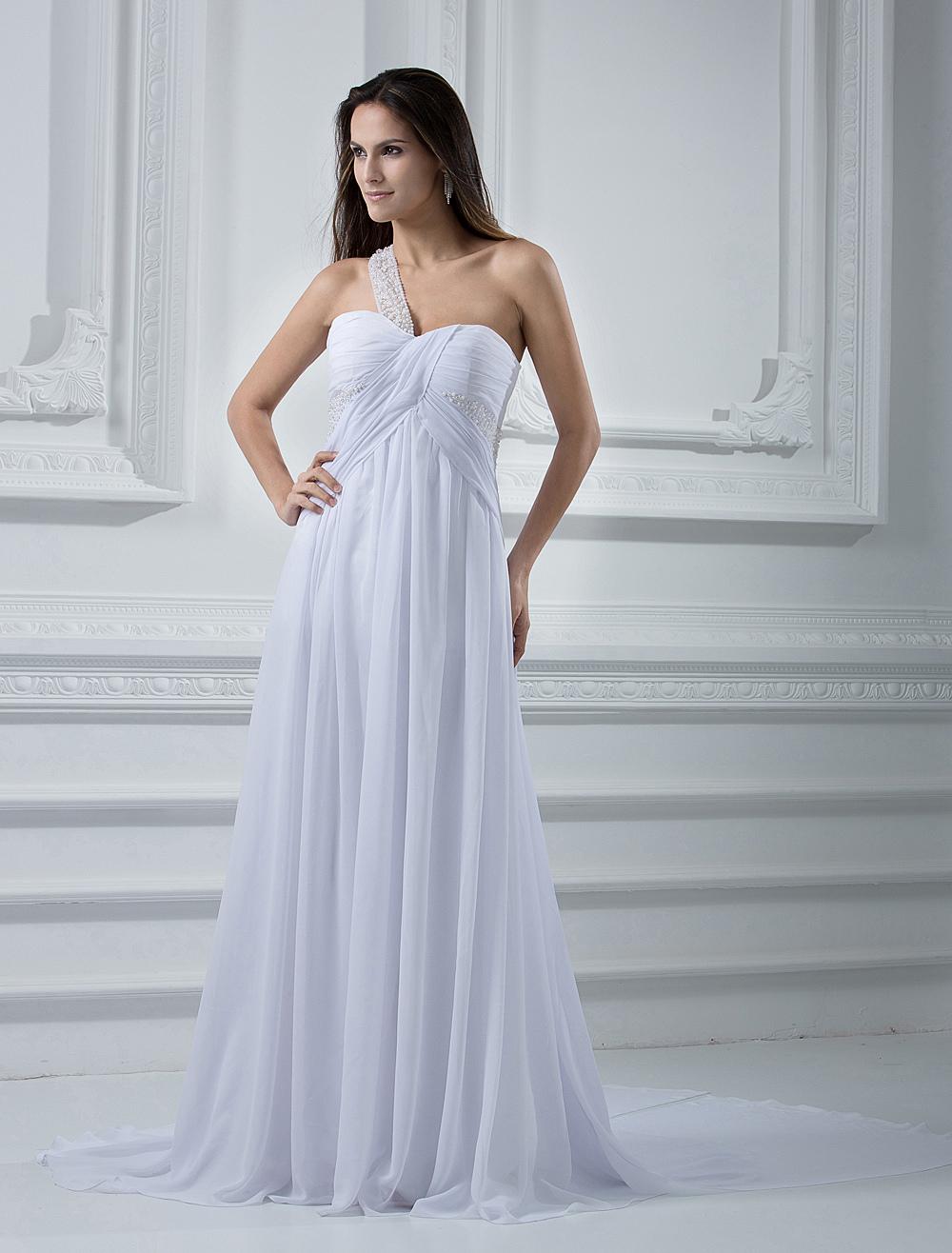 Milanoo / Empire Waist Ivory Chiffon Wedding Dress