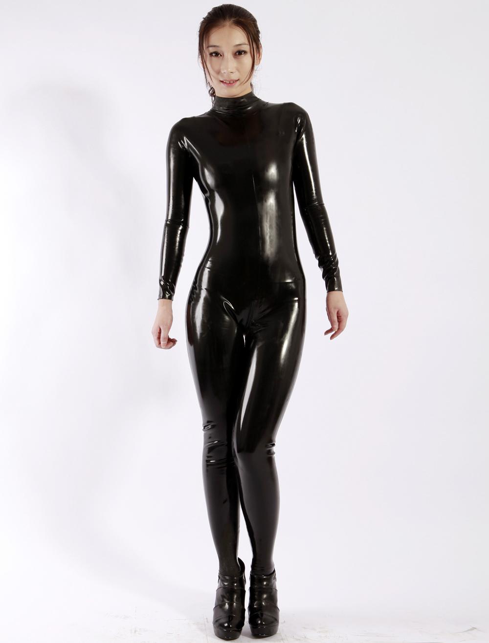 Latex Catsuits Black Unisex Halloween Bodysuit Halloween