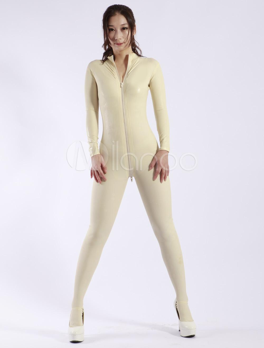 Halloween Fashion White Zipper Women's Latex Catsuits Halloween