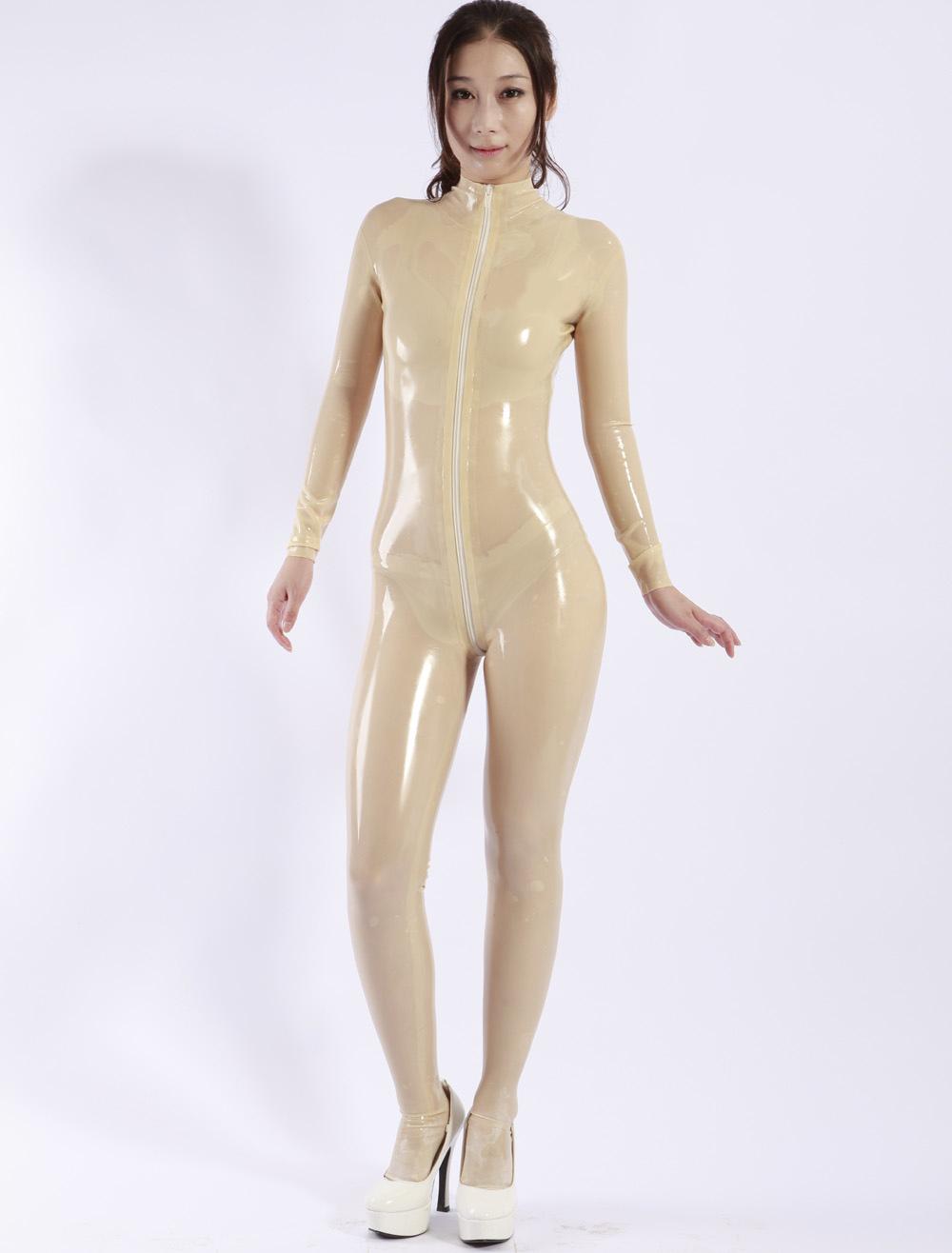 Sexy Latex Catsuit with front Zipper Halloween Bodysuit Halloween